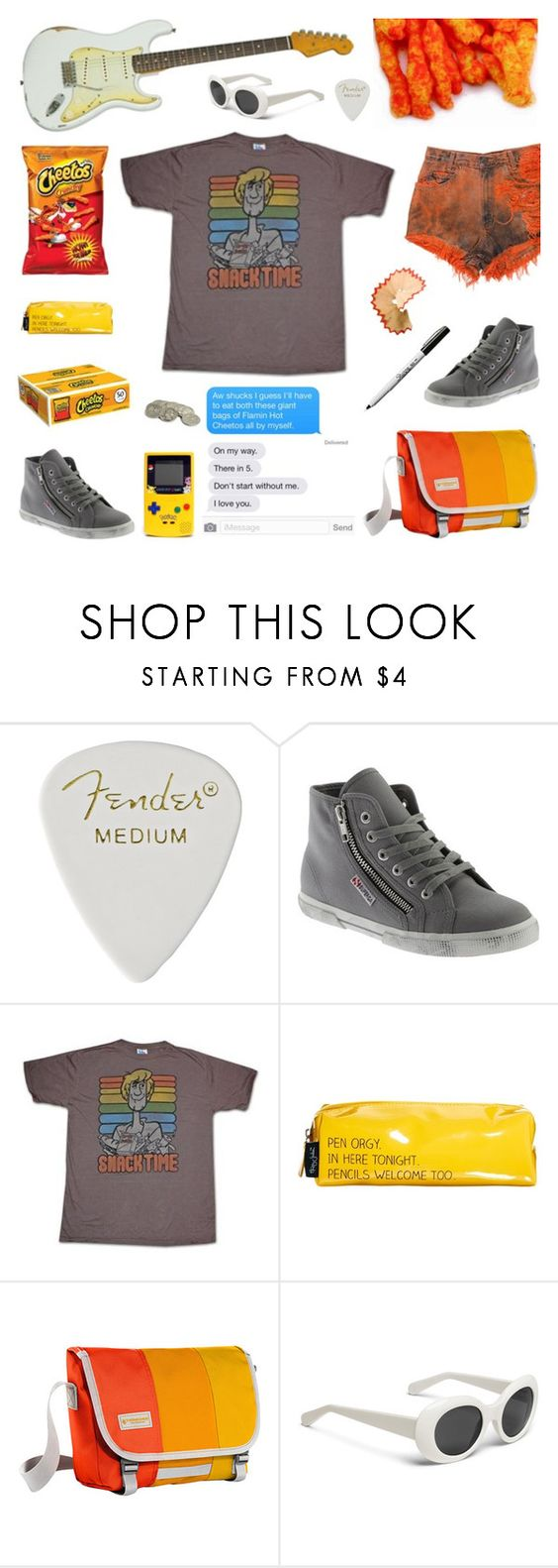 """Cheetos"" by deepwinter ❤ liked on Polyvore featuring Runwaydreamz, Superga, Junk Food Clothing, Happy Jackson and Timbuk2"