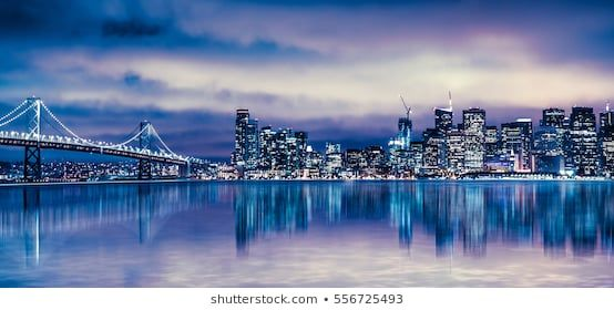 Night View Of Beautiful San Francisco California City Skyline With Lit Buildings Bay And Bridge Skyline San Francisco Kalifornien Stadt