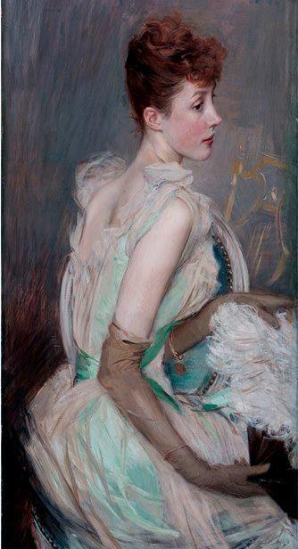 Giovanni Boldini - Portrait of Countess De Leusse, born Berthier, 1889: