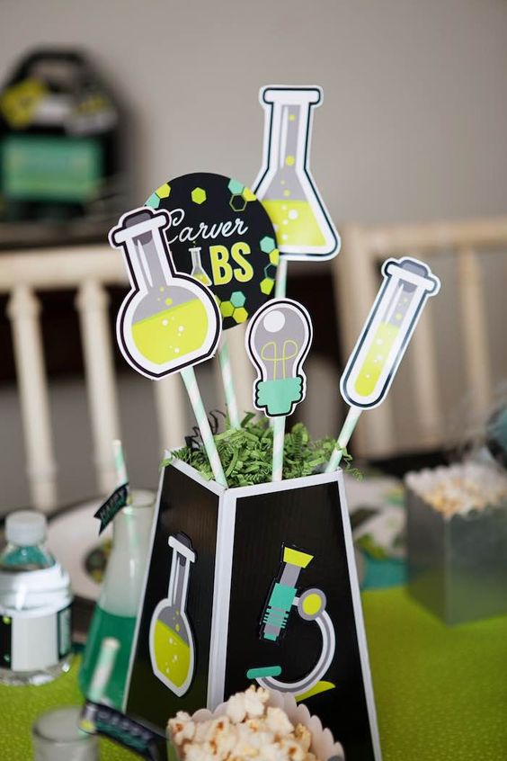 Table Centerpiece from a Science Lab Birthday Party via Kara's Party Ideas KarasPartyIdeas.com (37):