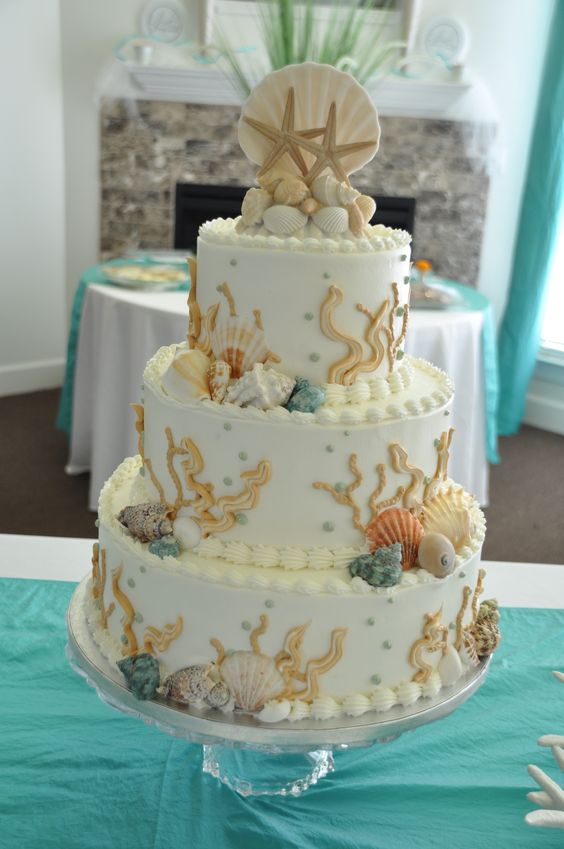 Where do you start to plan a beach themed wedding? With a beach wedding cake!