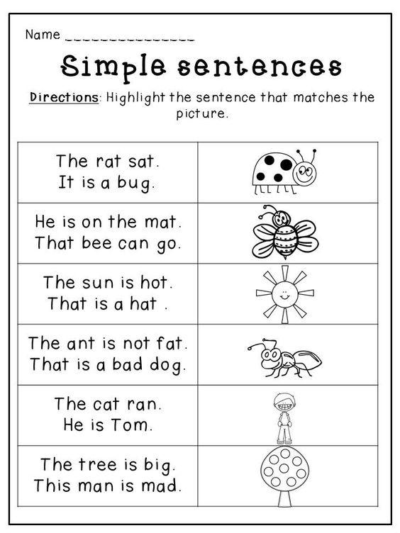 Worksheets Rhyming Sentence kindergarten spring language packet silly sentences alphabet line up matching