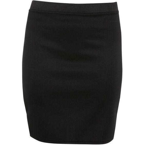 Black Scuba Tube Skirt ($12) ❤ liked on Polyvore