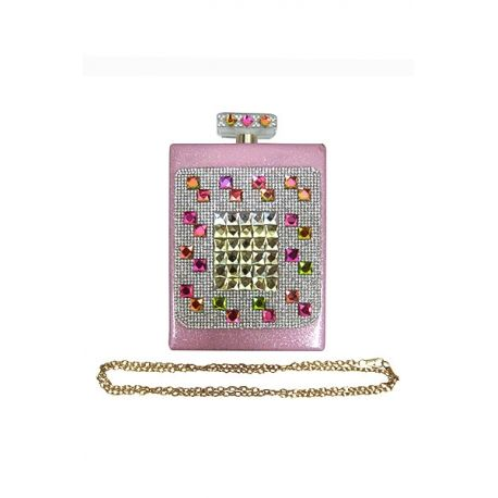 Perfume Bottle Look Clutch Pink - Wholesale Fashion Purses