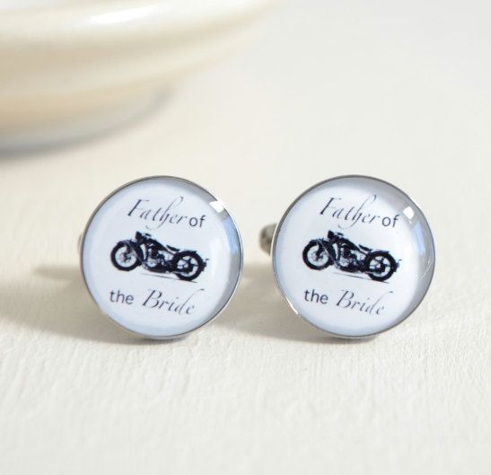 Father of the Bride Motorcycle cufflinks  vintage by whitetruffle, $42.00