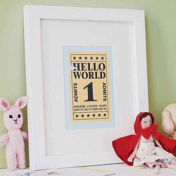 Personalised 'Hello World' Ticket Art Print