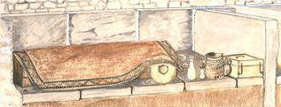 Zeichnung: © Domgrabung Köln, W. Schneider Rekonstruktion Frabengrab.