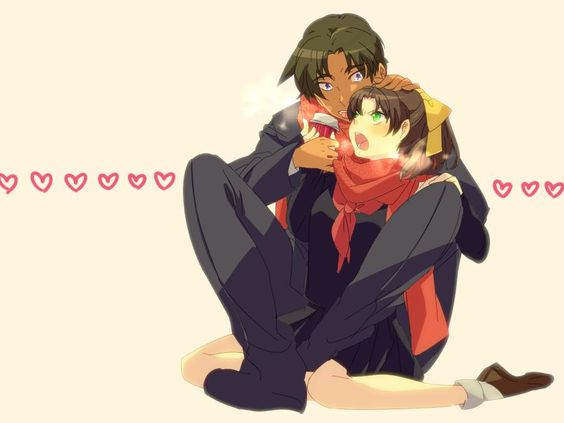 What the hell is going on in this picture? Heiji'sfolded like a pretzel and playing keep away with Kazuha's hot ... chocolate? tea? coffee?
