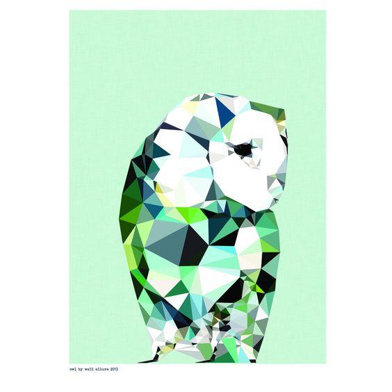Geometric Owl art print