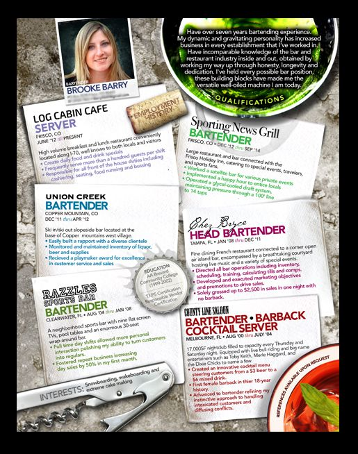 Custom 1-page resume for bartending and hospitality ©2011 T!NG - 1 page resume