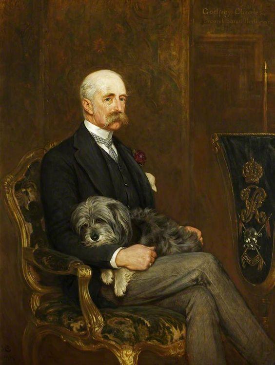Godfrey Charles Morgan (1831–1913), 2nd Baron, 1st Viscount Tredegar, with His Skye Terrier, 'Peeps'