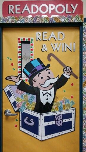 Monopoly theme for Reading classroom! Teacher supply carried border, lettering and game board decor... I used a projector to blow up Mr. Monopoly and created property cards using Word to feature Literary Genres. Read & Win!