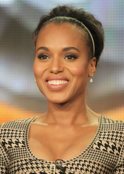 Follow Kerry Washington's lead and use a super-thin headband to sweep your bangs back, then tease at the crown for a retro hive #beauty #hair