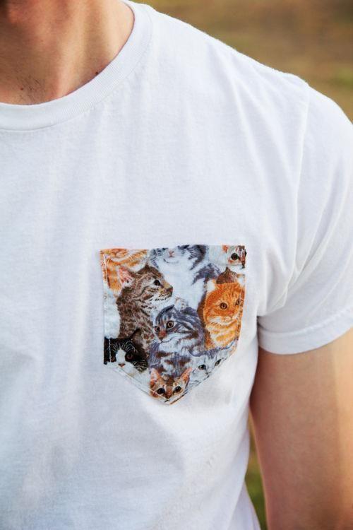Camiseta com bolso de gatinhos