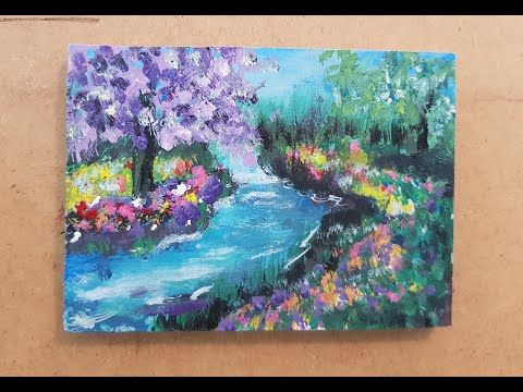 Acrylic Painting رسم منظر طبيعي على الخشب بالوان الاكريليك جدا سهل Youtube Painting Art