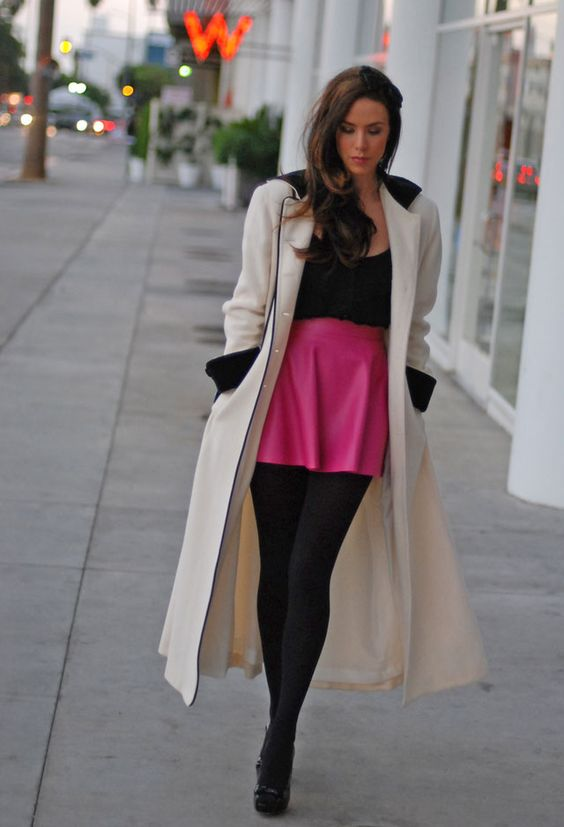 A Girl With A Short Skirt And A Long Jacket - My Jacket