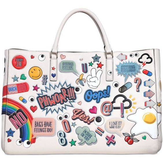 Height: 28cm Width: 42cm Depth: 11cm Handle drop: 12cm. Double leather top handles. Expandable sides with snap button closure. All over embossed print. One int…