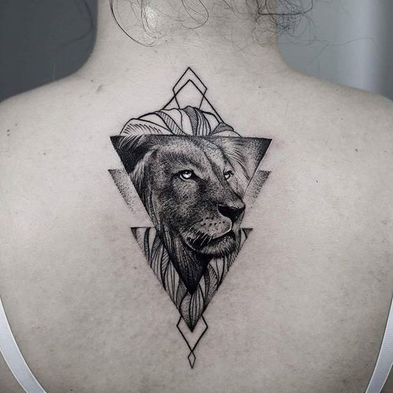 In Various Traditions And Cultures Lions Were Always Connected With Gods In Many Countries Lion Tattoo Meaning Geometric Animal Tattoo Geometric Lion Tattoo