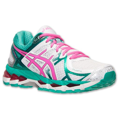 Women's Asics GEL-Kayano 21 Running Shoes  Finish Line   White/Hot Pink/Emerald