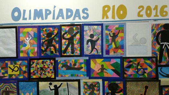 Painel com pinturas de pictogramas das Olimpíadas com técnicas diversas de canetinhas.: