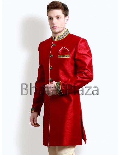 Buy Red Indo Western Coat online. http://www.bharatplaza.com/mens