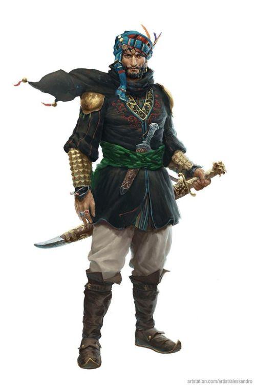 Character And Npc Design : Arab prince yuisef sa tinn carries a single edged