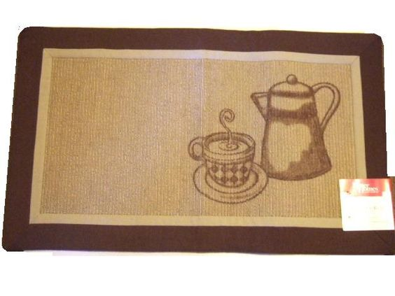 This Coffee Themed Tablecloth Features The Words Cappuccino, Mocha, Cafe  And Coffee Beans In Light Brown On A Beige Background.