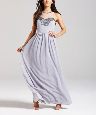 Another great find on #zulily! Silver Gray Embellished Sleeveless Gown #zulilyfinds