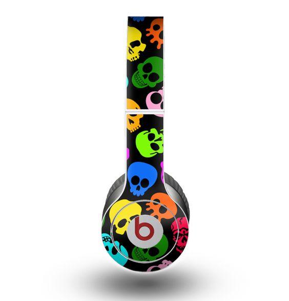 The Vivid Vector Neon Skulls copy Skin for the Beats by Dre Original Solo-Solo HD Headphones