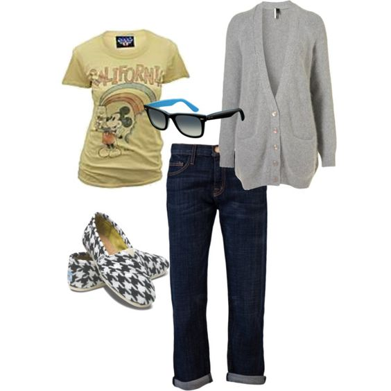 Fall Mickey by jhynes on Polyvore featuring Junk Food Clothing, Current/Elliott, TOMS and Ray-Ban