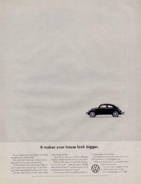 """1966 Volkswagen Beetle """"It makes your house look bigger"""" ad."""
