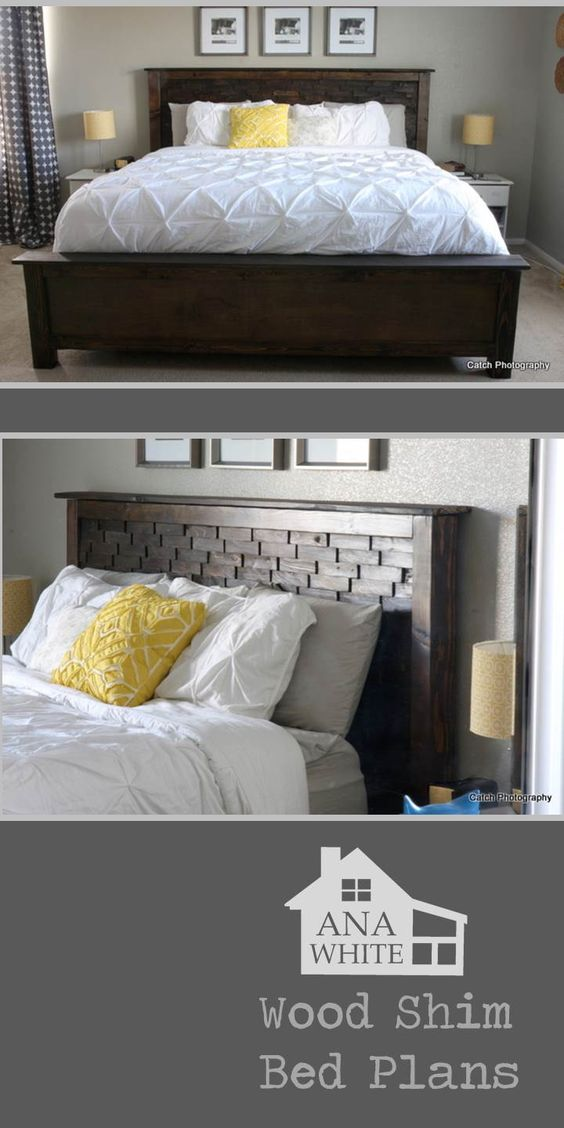 build a bed wood shims fancy it up cost about 130 free diy building bedroom furniture
