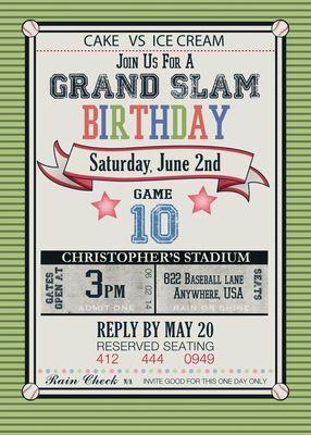 Vintage Boy Grand Slam Invitations