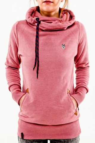Stylish Hooded Long Sleeve Pocket Design Embroidered Women's ...
