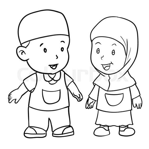 Hand Drawing Of Muslim Kids Standing Stock Vector Colourbox On Colourbox Muslim Kids Drawing Images For Kids Cartoon Kids