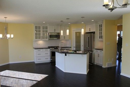 Black Floor White Cabinet Nice Yellow Kitchen Ideas