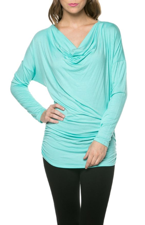 Long Dolman Sleeve Top W/ Cowl Neck