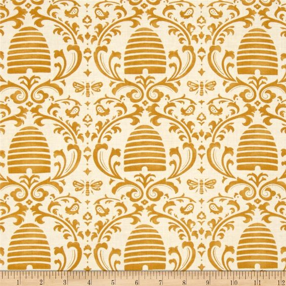 "Moda Bee Creative Beehive Damask White Gold from @fabricdotcom  Designed by Deb Strain for Moda, this cotton print fabric is part of the ""Bee Creative"" collection. Use for quilting and craft projects as well as apparel and home décor accents. Colors include white and gold."