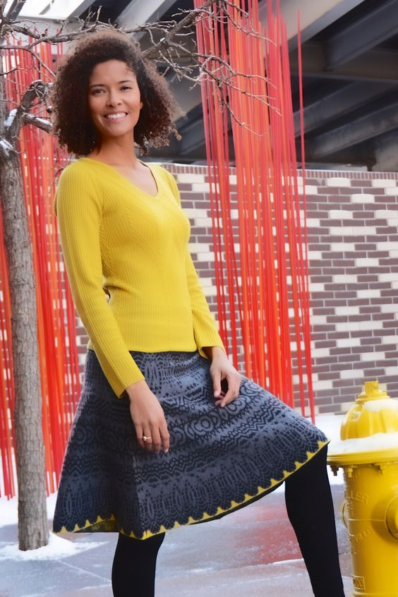 "Kaleidoscope Sweater Skirt | 21"" Fit and Flare Skirt | 100% Ultrafine Merino Wool | Grey/Black/Mustard | XS-XL | $152 | www.krimsonklover.com:"