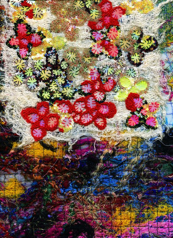 A detail of Louda Collection hand-made and hand-embroidered fabric www.loudacollection.com