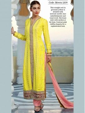 Yellow Long Straight Salwar Suit for Eid