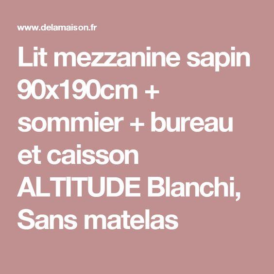 lit mezzanine sapin 90x190cm + sommier + bureau et caisson