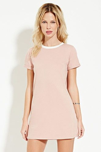 Contrast-Neck T-Shirt Dress- Green/Cream- Forever 21- $12.90 ...