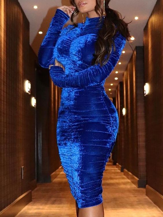 Velvet High Neck Scrunched Bodycon Dress   #fashion #beautiful #tops #style #women #Shoes