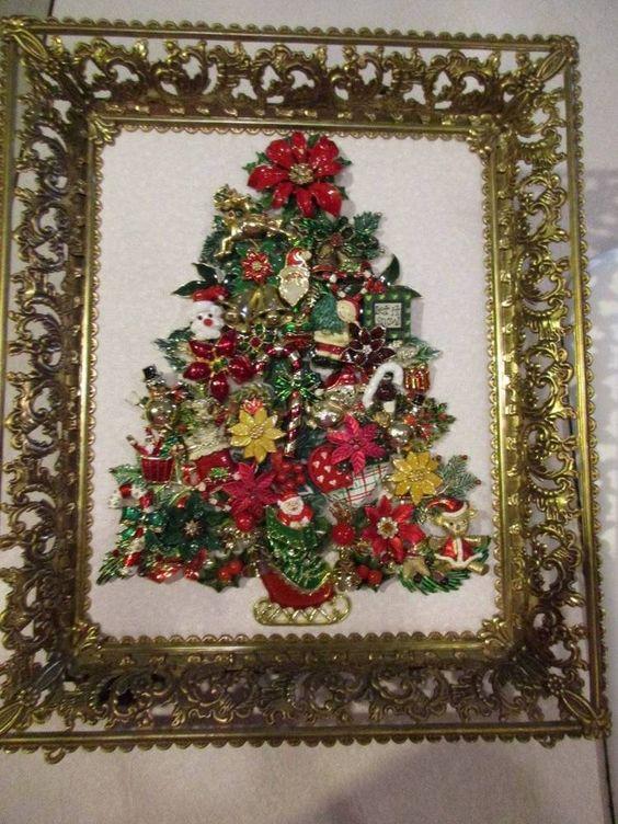 Vintage Framed Jewelry Christmas Tree Fabulous Fun OOAK
