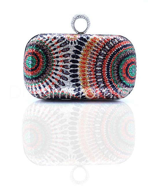 Classical Personality Colorful Sequins Women's Clutches Fashion Finger Ring Purse Shining Evening Bags For Wedding ,Party
