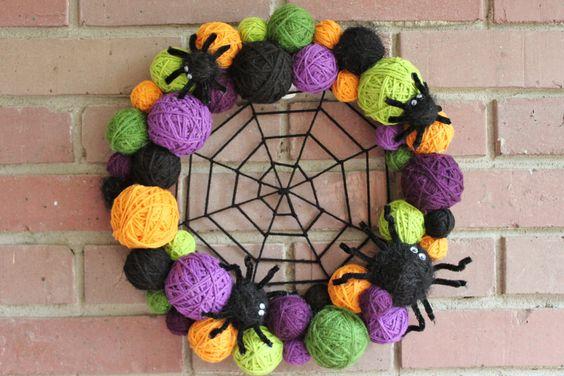 Halloween Wreath, Yarn Ball Wreath, 14 inches, in Halloween colors, orange, black, green and purple MADE TO ORDER