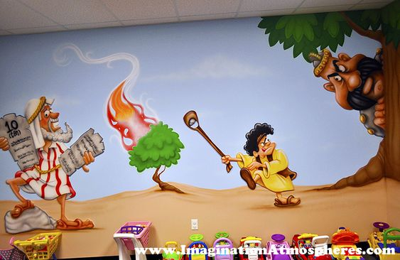 Nursery murals hand painted and preschool on pinterest for Christian mural