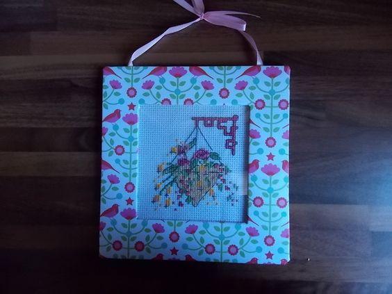 Handmade Hanging Basket Picture in handmade frame £9.00