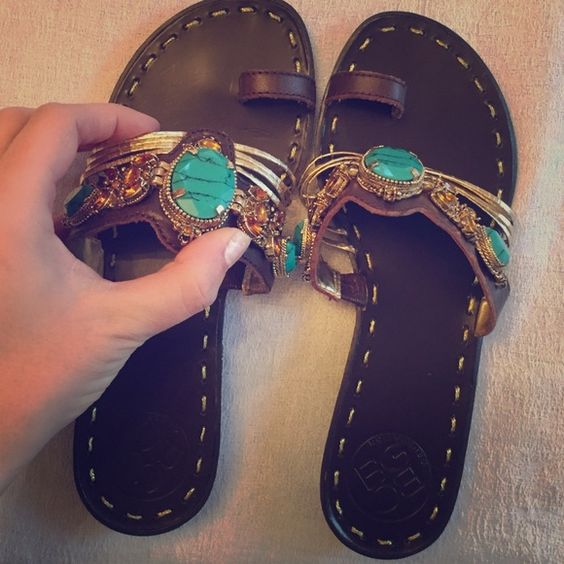 New BCBG Sandals Chic BCBG sandals that have never been worn. They have rhinestones and leather straps. Perfect condition! BCBGeneration Shoes Sandals